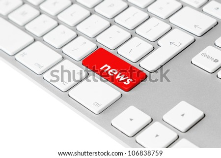 """Photo of a computer keyboard with one red key showing the word """"news"""" symbolising media reports and information."""