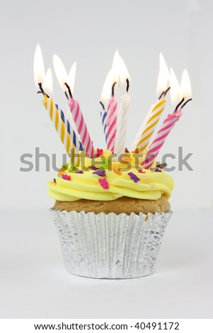 stock photo : photo of a cupcake or birthday cake with lots of candles