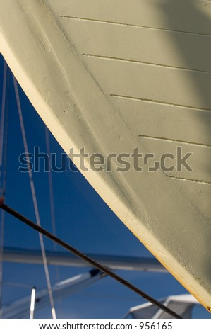 Photo of a detail of a commercial fishing boat\'s hull in dry dock