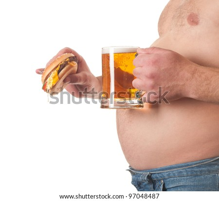 photo of a fat man with a hamburger and beer in his hand