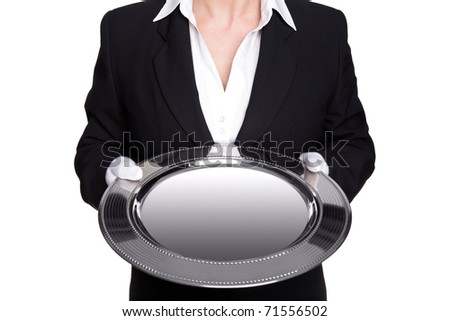 Photo of a female butler holding a silver tray, isolated against a white background. Good image for product placement.
