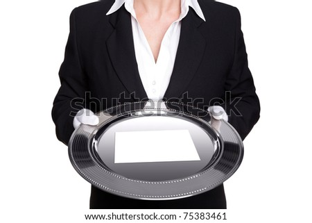 Photo of a female butler holding a silver tray with blank white card, isolated against a white background.