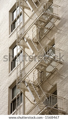 Photo of a fire escape on a historic brick building in downtown Portland.