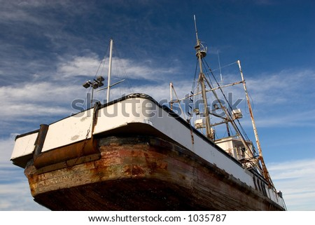 Photo of a fishing boat in dry dock, Astoria, Oregon