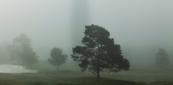 Photo of a foggy golf course