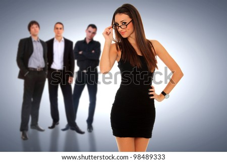 Photo of a four person business team isolated on a white background