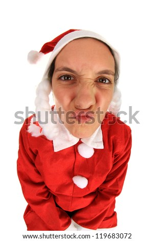Photo of a funny Santa girl, studio photo