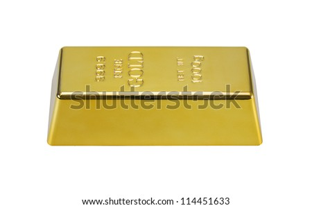 Photo of a 1000 g gold bar isolated on a white background with c - stock photo