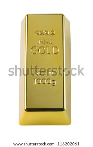 Photo of a 1000 g gold bar isolated on a white background with c