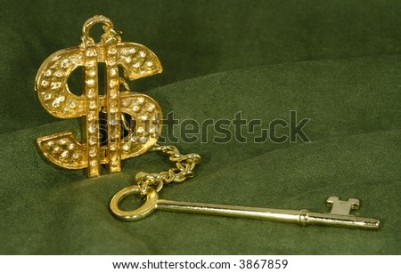 Photo of a Gold Key and Dollar Sign - Success Concept