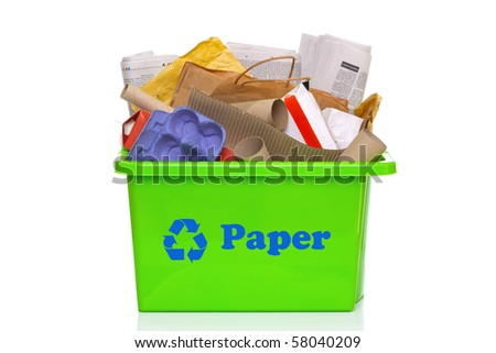 Photo of a green paper recycling bin isolated on a white background.