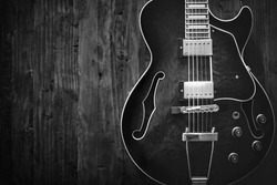 Photo of a guitar with retro and monochrome style