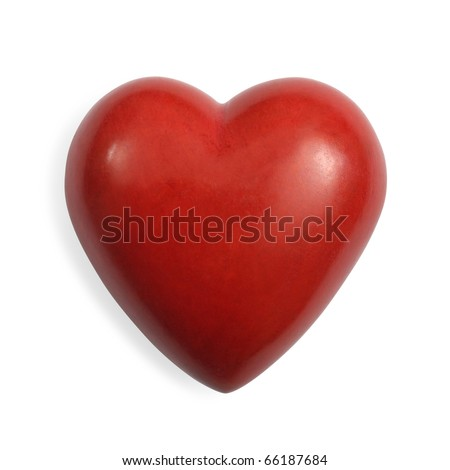 Photo of a heart-shaped red stone on a white background.  Slight shadow on the left and clipping path included.