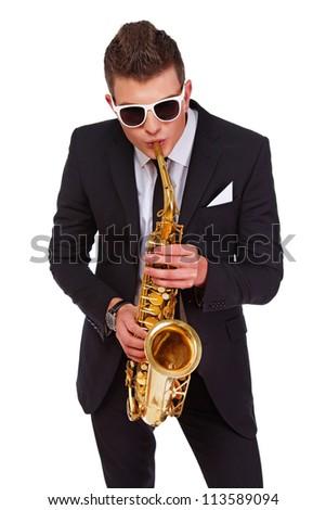 Photo of a jazzman paying saxophone