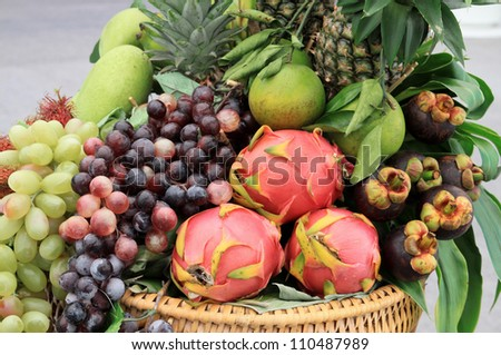 Photo of a large group of fruit and vegetables in basket