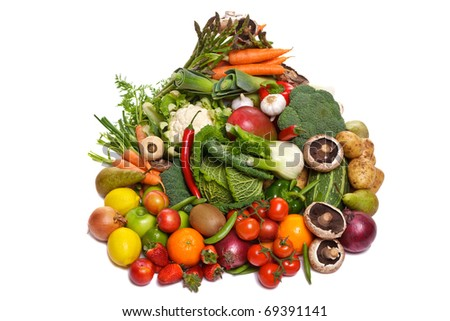 Photo of a large group of fruit and vegetables isolated on a white background.