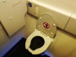Photo of a lavatory in commercial airplane. Aircraft Toilets.