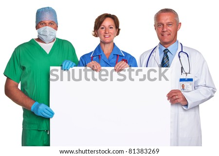 Photo of a medical team holding a blank poster for you to add your own message, isolated against a white background.