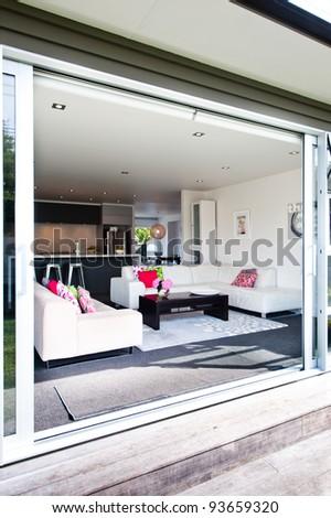 Photo of a modern interior design home - indoor, outdoor living.
