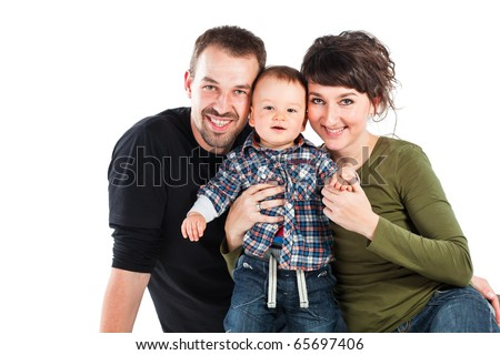 Photo of a new family enjoying isolated on white background