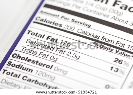 photo of a nutrition facts label with focus on the fat content