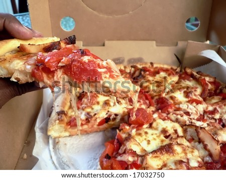 photo of a open pizza box with chicken topped thick crust pizza inside