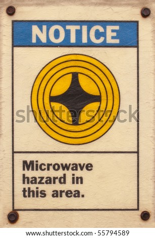 photo of a posted microwave hazard sign