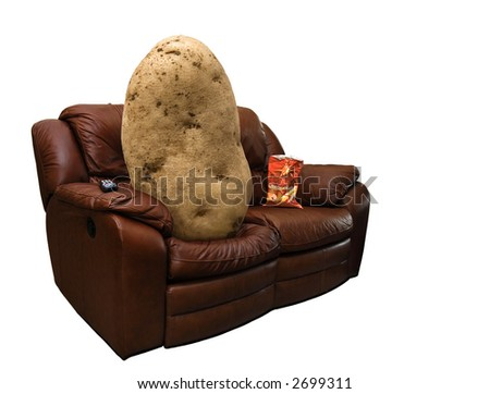 Photo of a potato on a leather couch with a bag of chips. Сток-фото ©