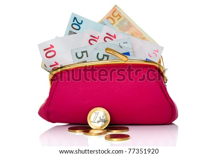Photo of a purse full of cash Euro banknotes and coins in front, studio shot on a white background.