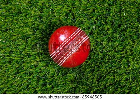 Photo of a red leather cricket ball with stitched seams on grass