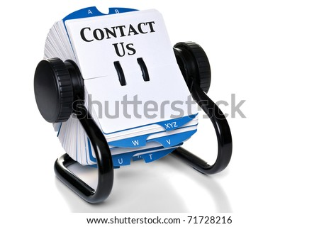 Photo of a rotary card index with Contact Us and a blank card to add you own details, isolated on a white background with natural shadow.