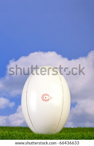 Photo of a rugby ball tee'd up on grass with sky background.