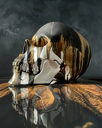Photo of a skull on a black background. Abstraction on the theme of gothic.