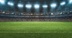 Photo of a soccer stadium at night. The stadium was made in 3d without using existing references.