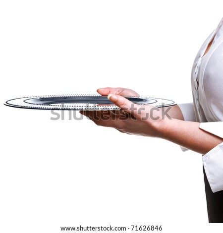 Photo of a waitress holding a silver tray, isolated on white. Good image for product placement.
