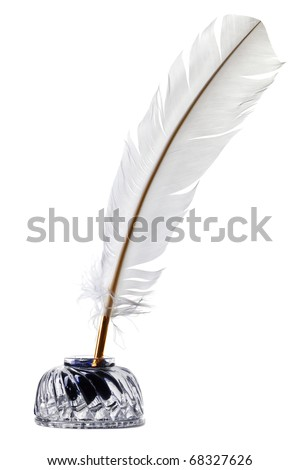 Photo of a White feather quill pen and glass inkwell isolated on a white background.