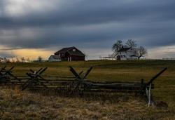 Photo of a Winter Sunset and a Civil War Farm, Gettysburg National Military Park, Pennsylvania, USA