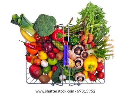 Photo of a wire shopping basket full of fresh fruit and vegetables, shot from above and isolated on a white background. - stock photo