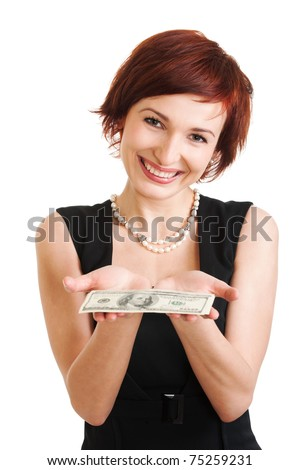 Photo of a woman holding a fan of $ one Hundred  bills. on white background