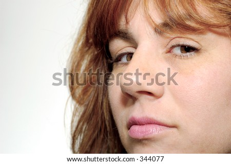 Photo of a Womens Face on White Background