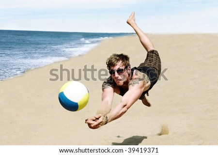 Photo Of A Young Man In A Dynamic Jump Hitting A Volley Ball