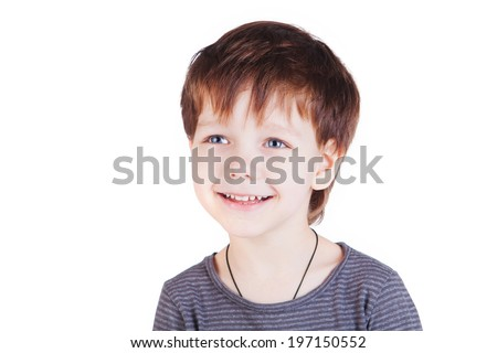 Photo of adorable young happy boy looking at camera. #197150552