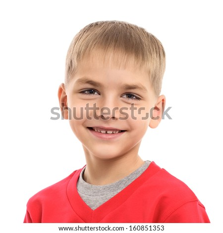 Photo of adorable young happy boy looking at camera isolated on white background  - stock photo