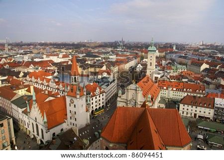 photo of Aerial view of a part of the old town of Munich