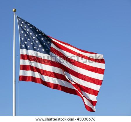 american flag waving in wind. of American flag waving in