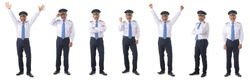 Photo of an airline pilot wearing the four bar Captains epaulettes, firlst pilot, aircraft commander, isolated on white background, set of full length portraits