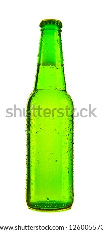 Photo of an ice cold bottle of beer covered in droplets, isolated on a white background.