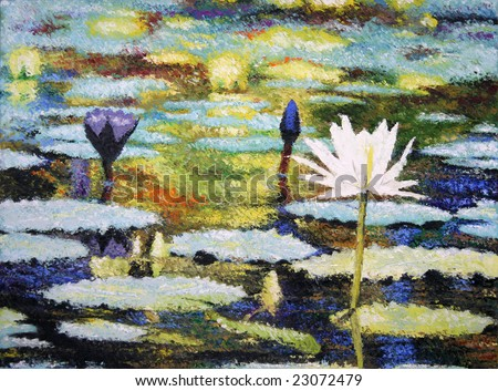 Photo of an impressionist painting of lilies (original art by me)