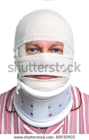 Photo of an injured man with a head bandage and Cervical neck collar, isolated on a white background.