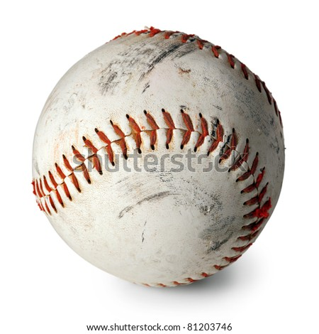 Photo of an old baseball with scratches and worn areas, isolated on white background.